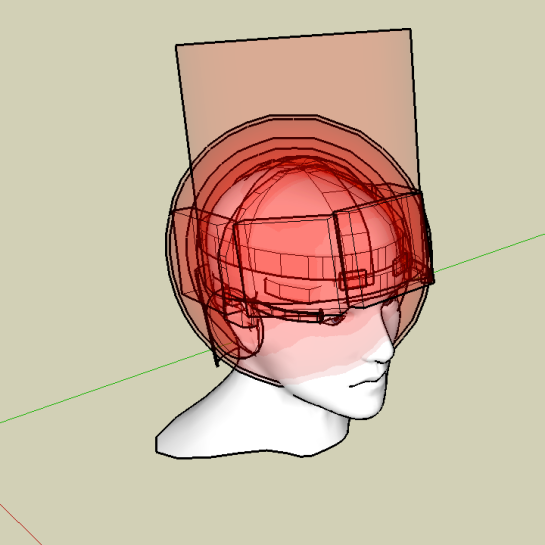 This is a composite SketchUp rendering of the shapes of all wearable brain control devices in the survey.